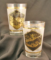 gold trimmed drink glass